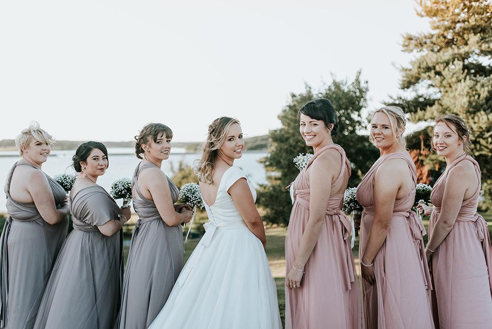 Bridesmaids Dresses Multiway Pink Lilac Maxi Long Blithfield Lakeside Barns Wedding Daniel McClane Photography