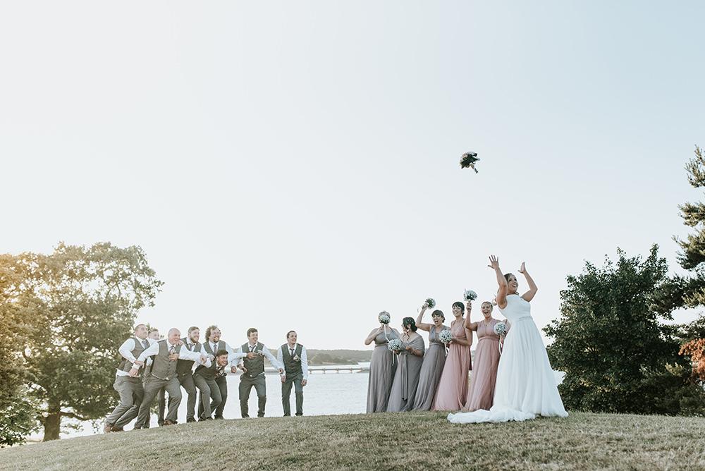 Bouquet Throw Toss Blithfield Lakeside Barns Wedding Daniel McClane Photography