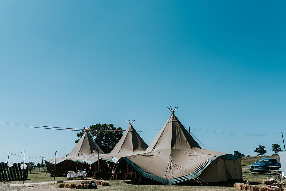 Tipi Outdoor Set Up Hay Bales Festoons Lights Blithfield Lakeside Barns Wedding Daniel McClane Photography