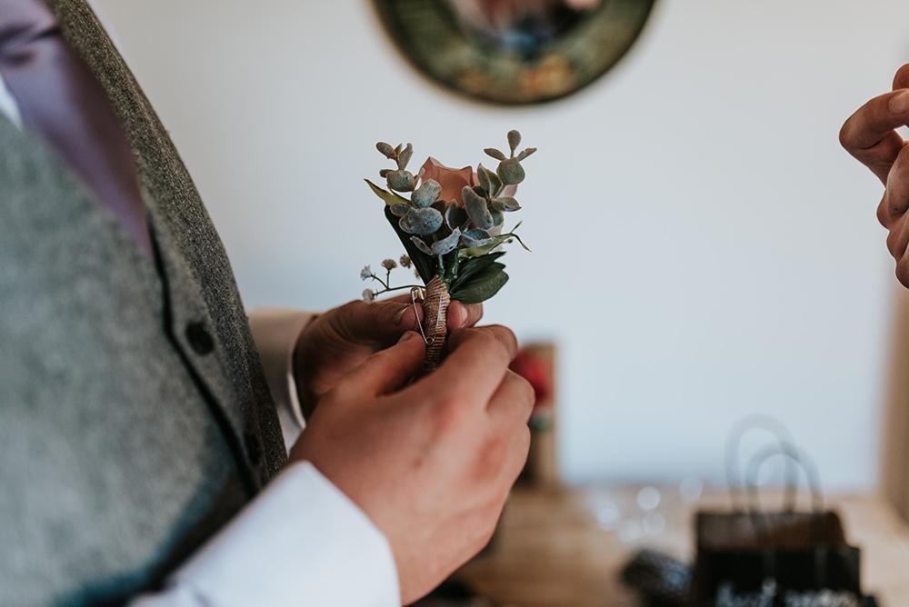 Faux Flowers Buttonhole Groom Blithfield Lakeside Barns Wedding Daniel McClane Photography