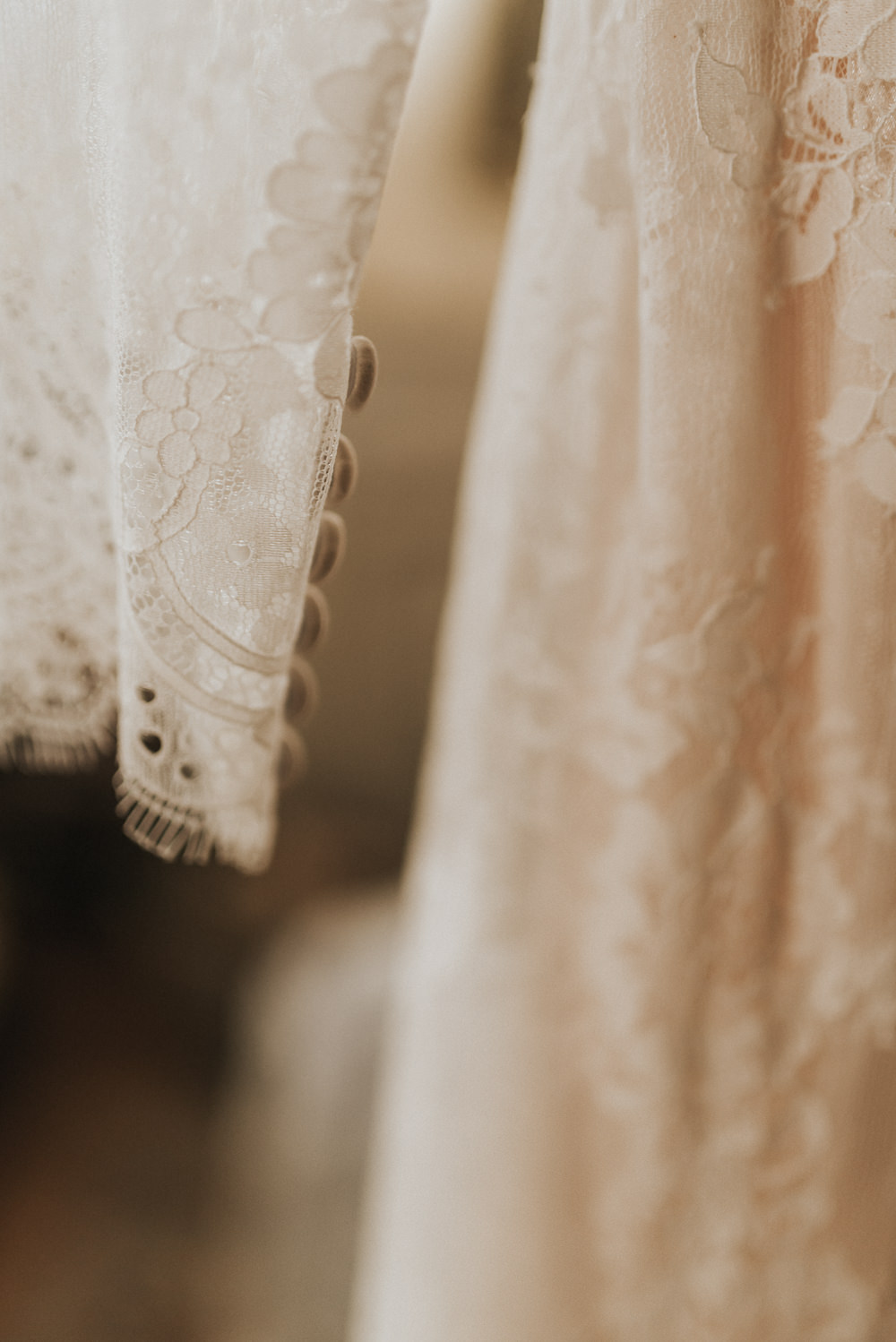 Lace Dress Gown Bride Bridal Sleeves Buttons Countryside Wedding Cotswolds Kate Waters Photography