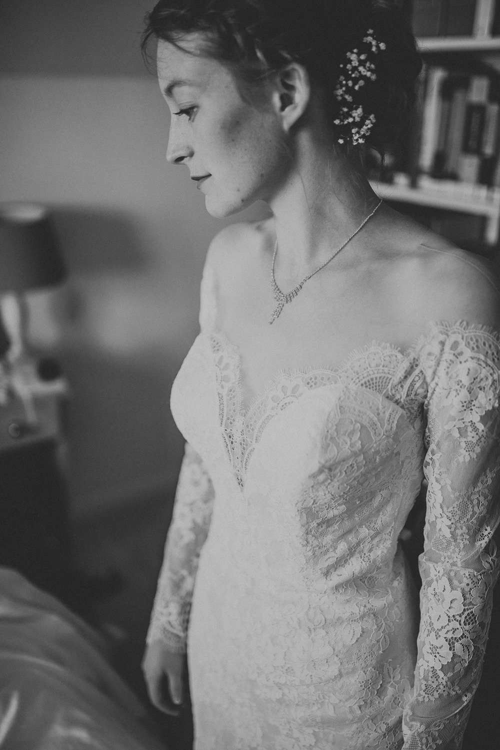 Lace Dress Gown Bride Bridal Sleeves Buttons Illusion Plunge Long Countryside Wedding Cotswolds Kate Waters Photography