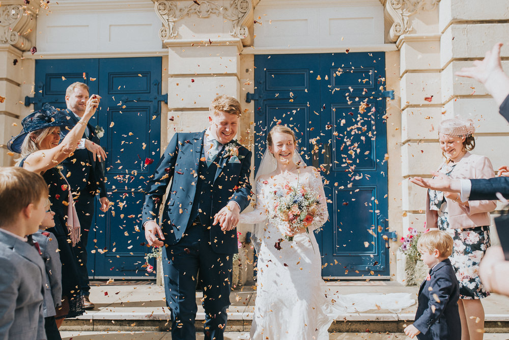 Confetti Throw Countryside Wedding Cotswolds Kate Waters Photography
