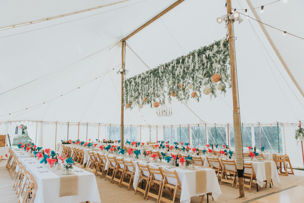 Wooden Pole Tent Marquee Hanging Flower Installation Suspended Festoons Countryside Wedding Cotswolds Kate Waters Photography