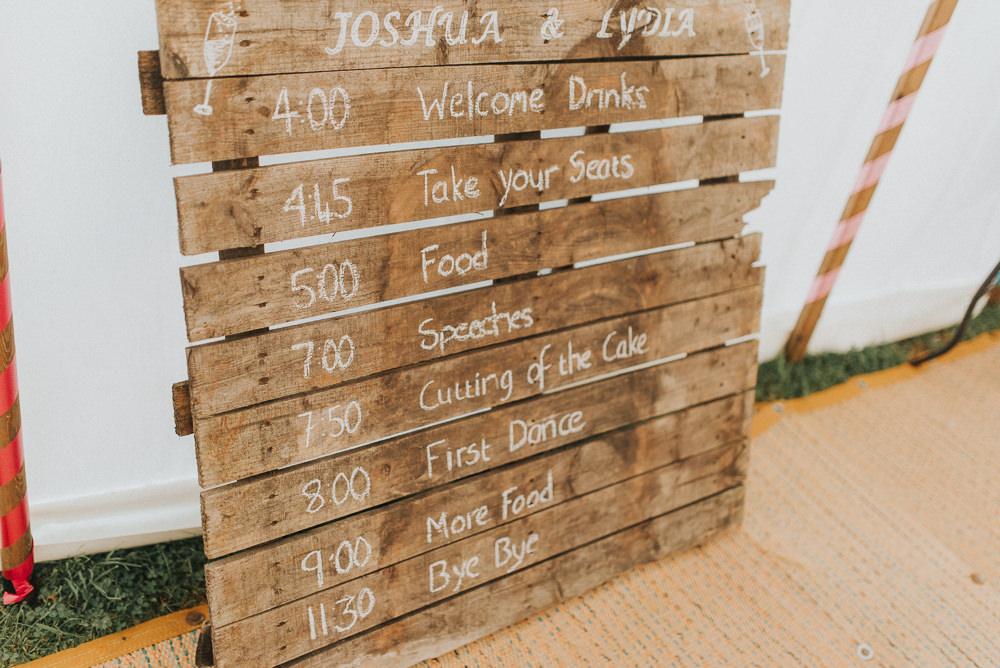 Rustic Wooden Pallet Sign Order Day Countryside Wedding Cotswolds Kate Waters Photography