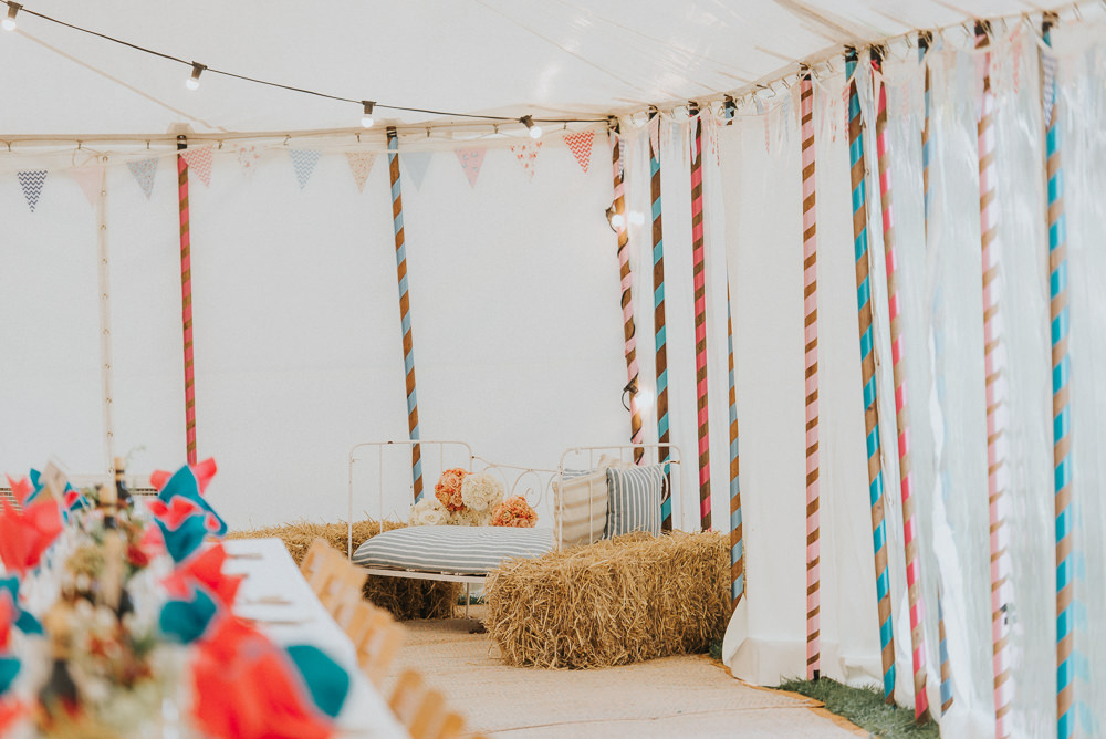 Hay Bales Seating Countryside Wedding Cotswolds Kate Waters Photography