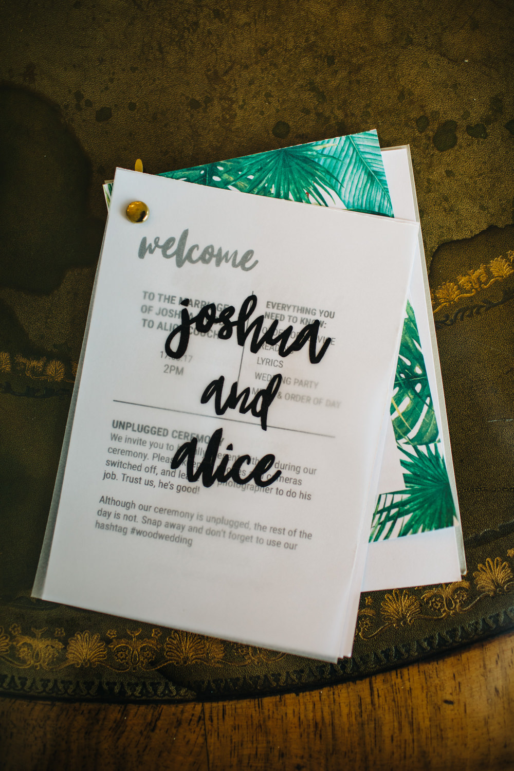 Tropical Palm Leaf Glassine Stationery Calligraphy Invite Invitation Deer Park Country House Hotel Wedding Richard Skins Photography