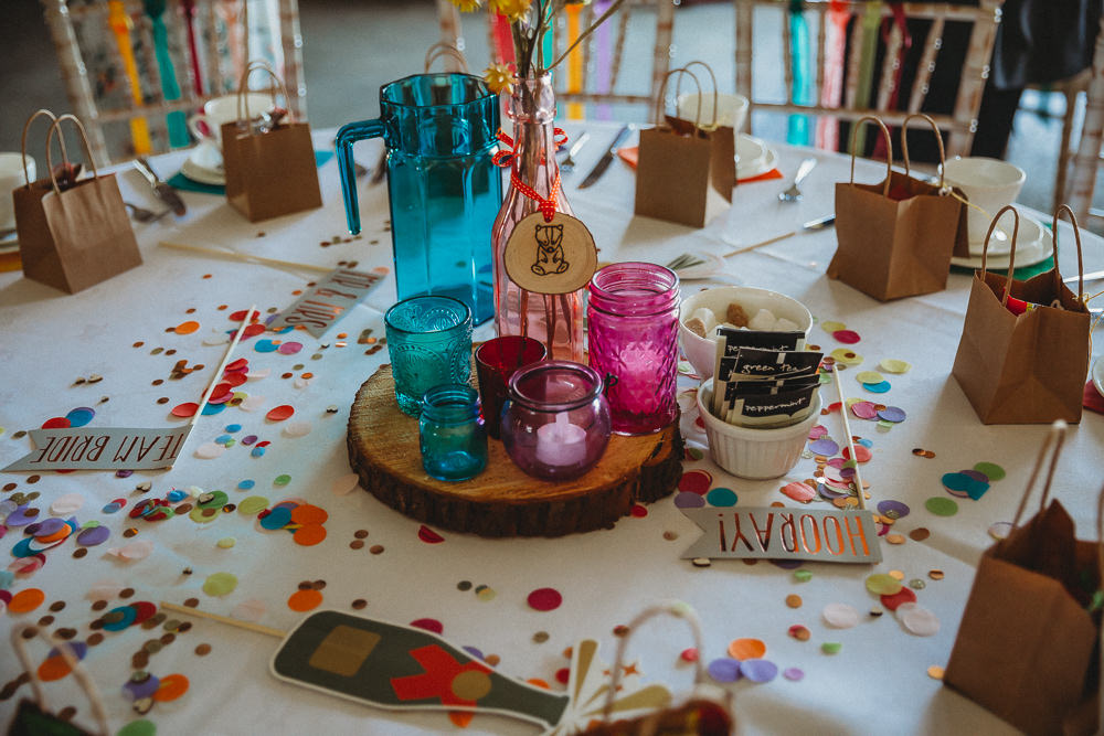 Colour Glass Jars Candles Centrepiece Log Furtho Manor Farm Wedding Ben Cotterill Photography
