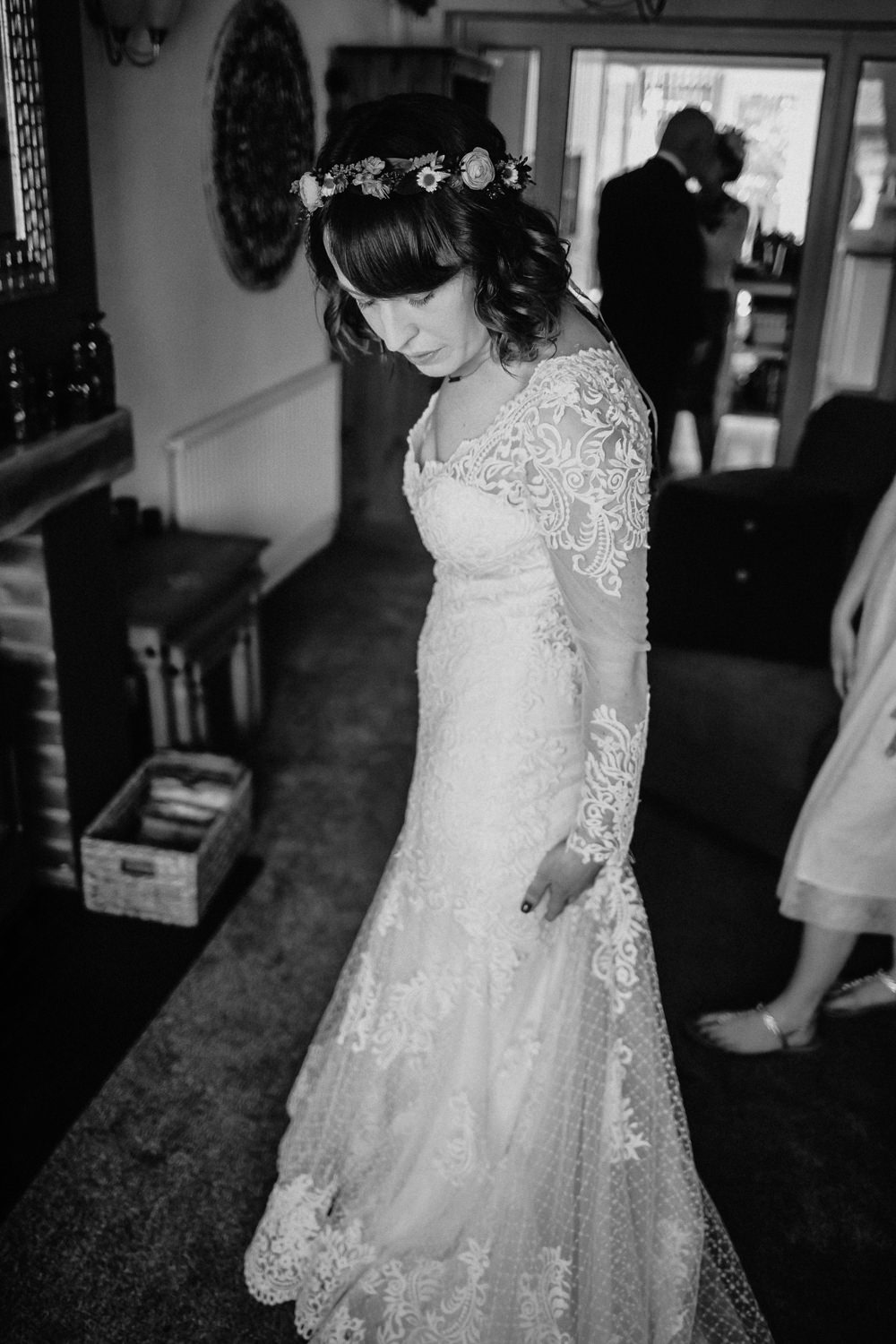 Maggie Sottero Dress Gown Lace Sleeves Bride Bridal Furtho Manor Farm Wedding Ben Cotterill Photography