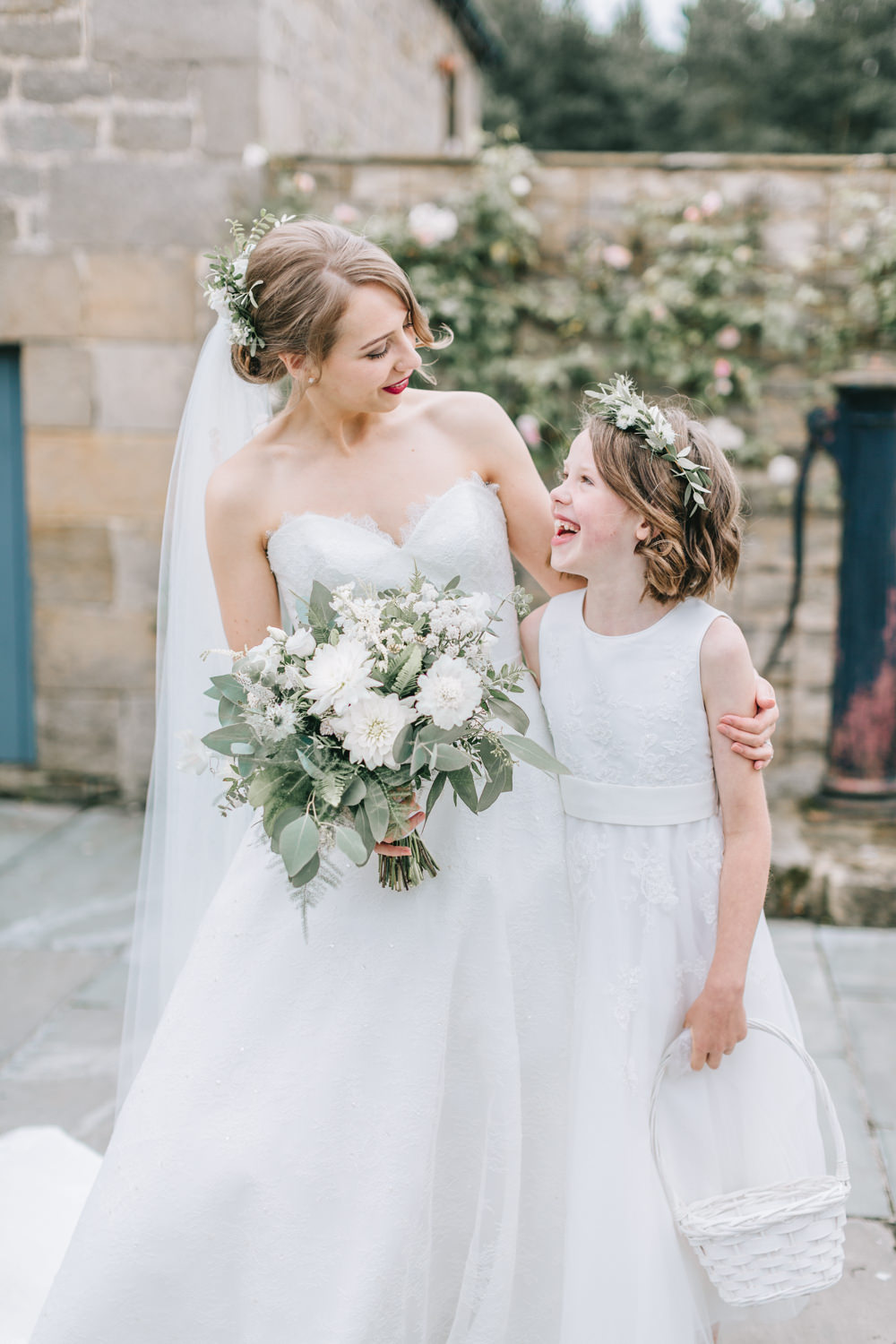 Bride Bridal Dress Gown Lace Strapless A Line Skirt Flower Girl Healey Barn Wedding Amy Lou Photography