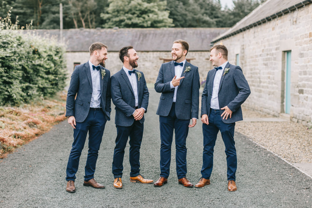 Groom Navy Blue Blazer Chinos Bow Tie Tan Shoes Groomsmen Healey Barn Wedding Amy Lou Photography