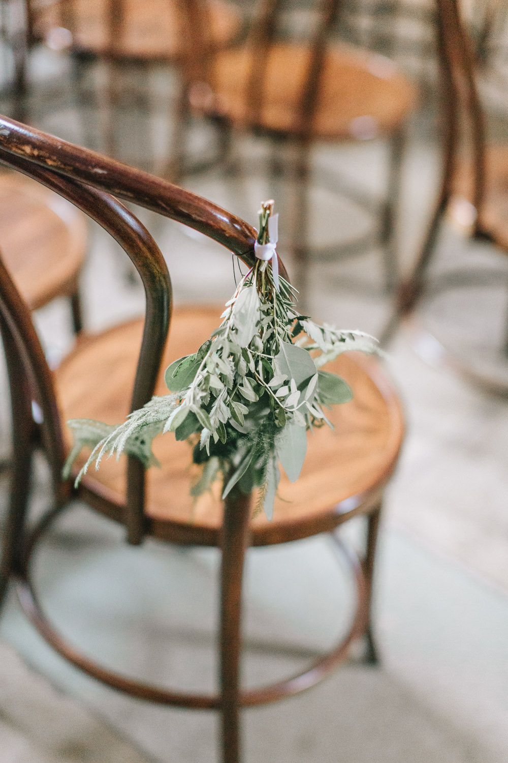 Bouquet Flowers Chairs Pew End White Greenery Foliage Healey Barn Wedding Amy Lou Photography