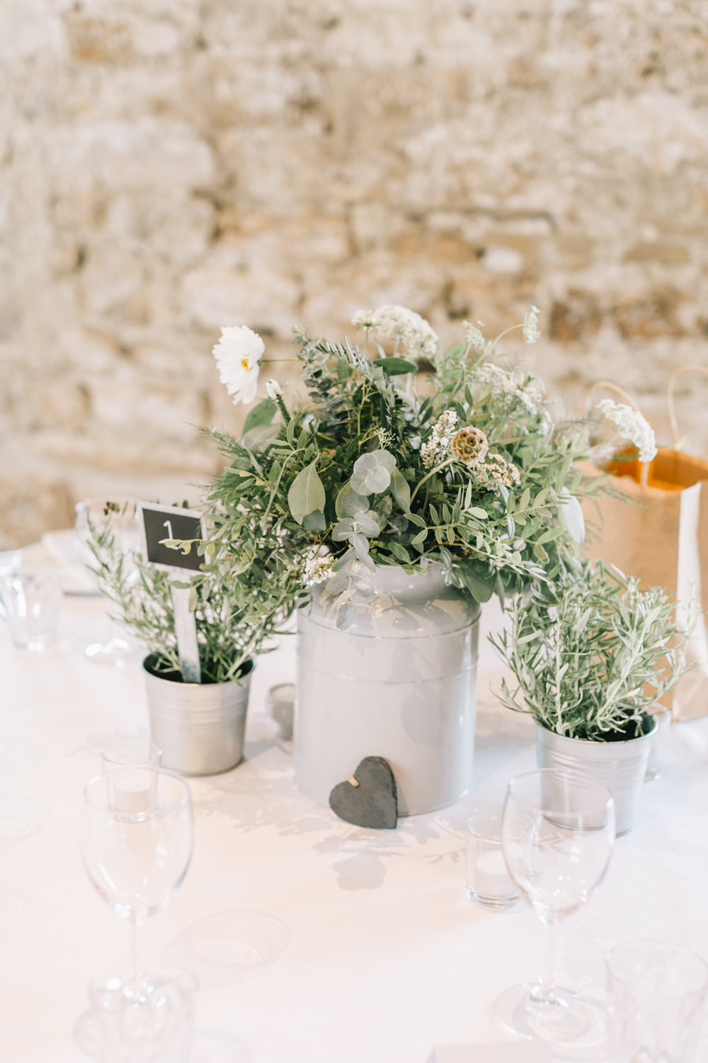 Table Centrepiece Flowers White Greenery Foliage Sweet Peas Fern Pots Healey Barn Wedding Amy Lou Photography