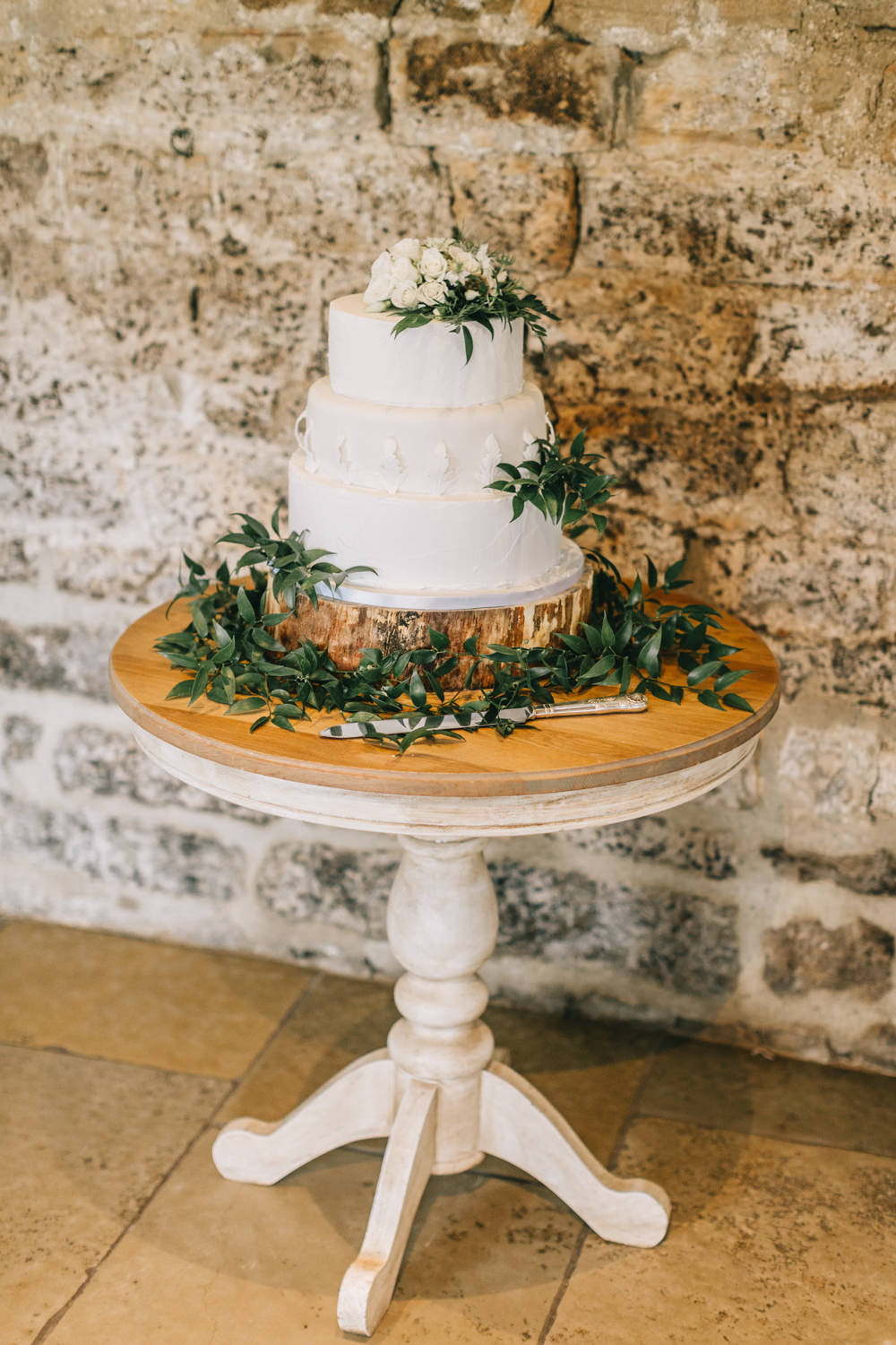 Cake Table White Rustic Greenery Healey Barn Wedding Amy Lou Photography