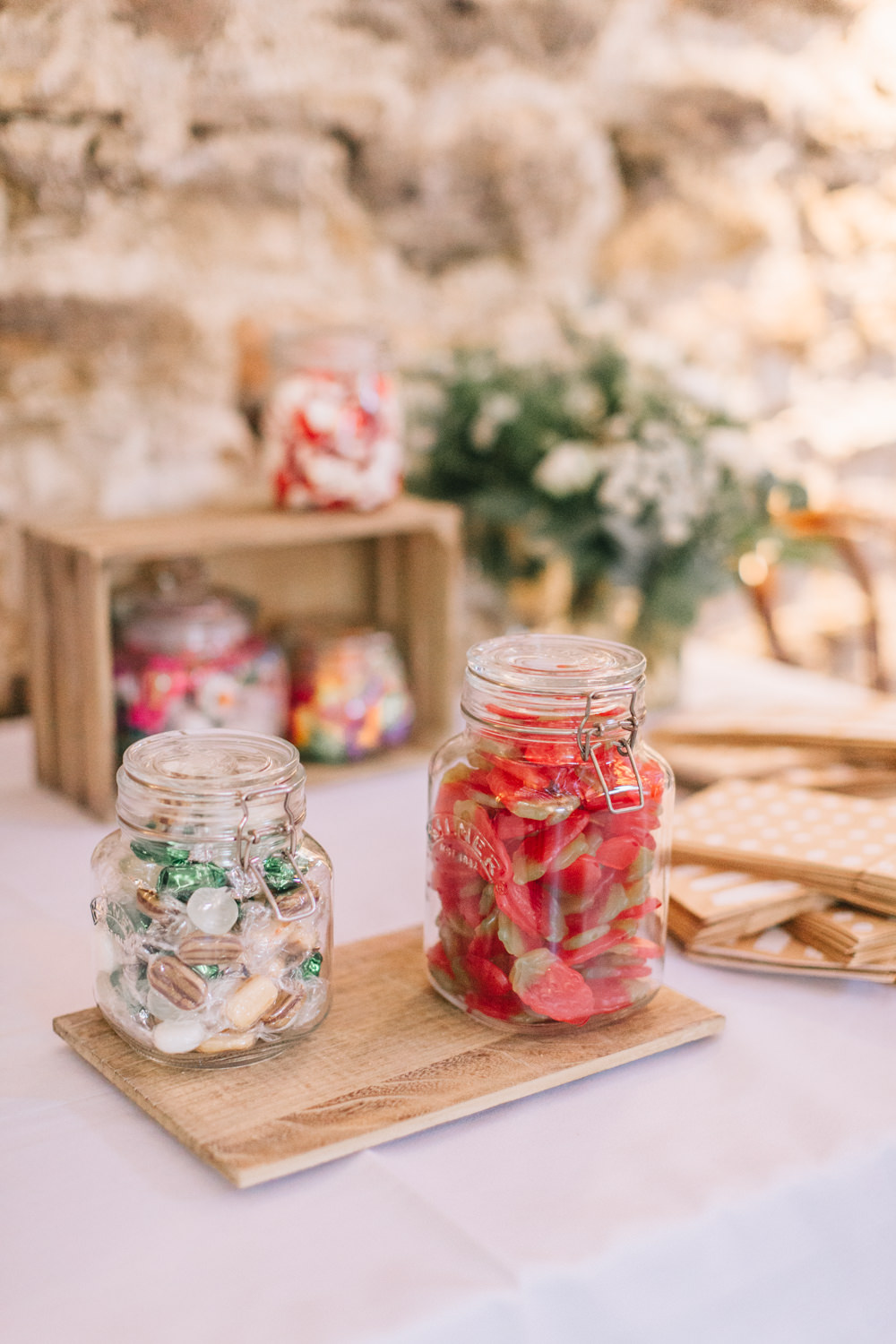 Sweets Sweetie Jars Table Healey Barn Wedding Amy Lou Photography
