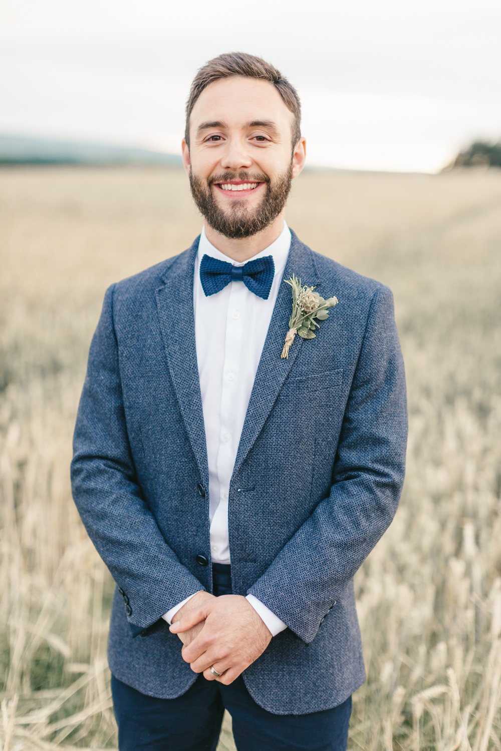 Groom Navy Blue Blazer Chinos Bow Tie Healey Barn Wedding Amy Lou Photography