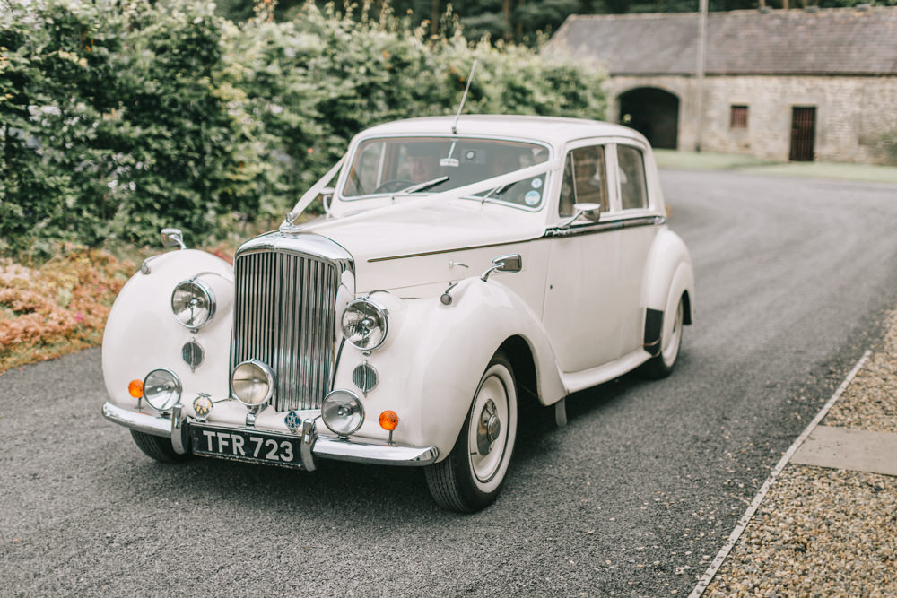 Classic Vintage Car Transport Healey Barn Wedding Amy Lou Photography