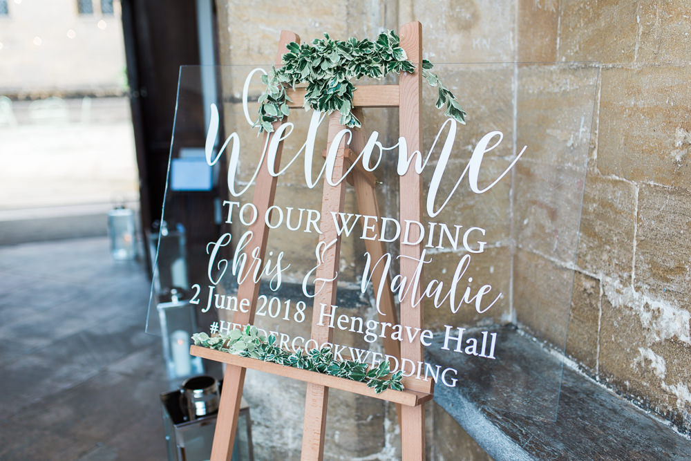 Glass Perspex Signage Welcome Modern Calligraphy Greenery Easel Hengrave Hall Wedding Gemma Giorgio Photography