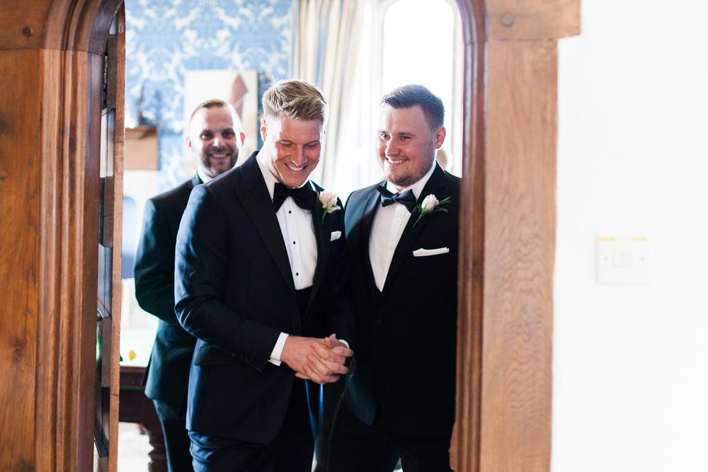 Groomsmen Tuxedo Groom Bib Waistcoat Pocket Square Hengrave Hall Wedding Gemma Giorgio Photography