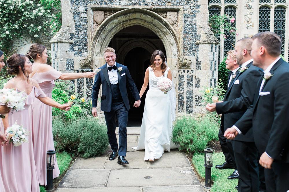 Bride Bridal Dress Gown Cowl Neck Train Tuxedo Groom Bib Waistcoat Pocket Square Hengrave Hall Wedding Gemma Giorgio Photography