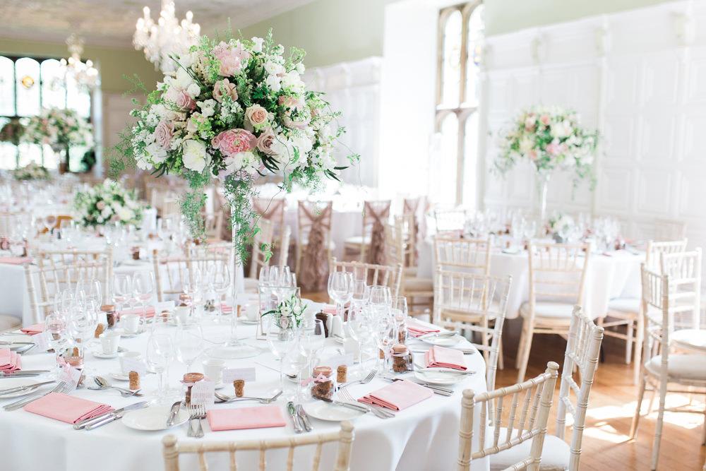 Tall Floral Centrepiece Blush Pink White Pedestal Hengrave Hall Wedding Gemma Giorgio Photography