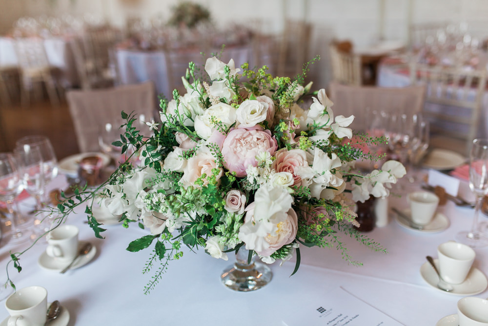 Flowers Floral Centrepiece Peony Greenery Rose Hengrave Hall Wedding Gemma Giorgio Photography