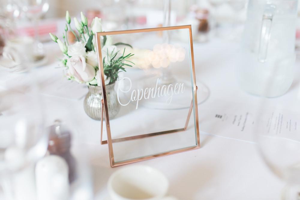 Table Name Copper Frame Calligraphy Hengrave Hall Wedding Gemma Giorgio Photography