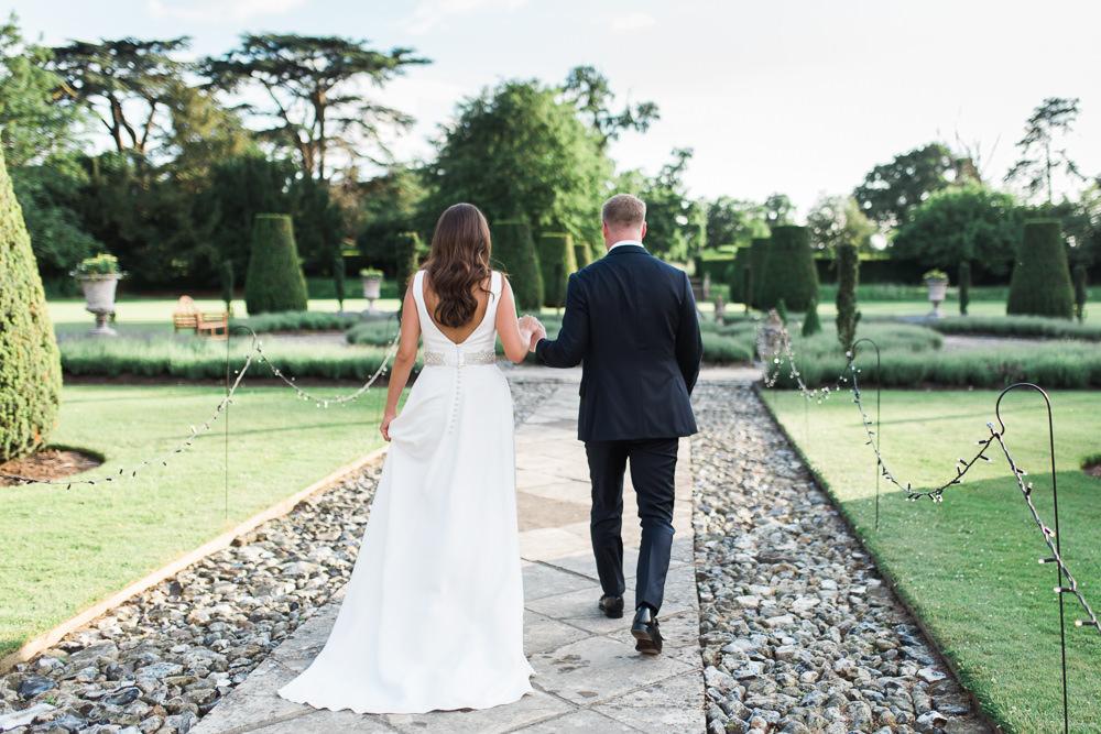Bride Bridal Dress Gown Cowl Neck Train Tuxedo Groom Hengrave Hall Wedding Gemma Giorgio Photography