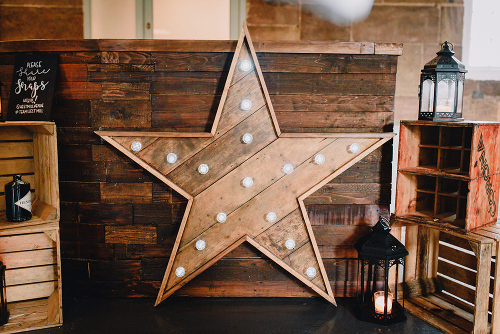 Wooden Star Light Industrial Winter Wedding Reality Photography