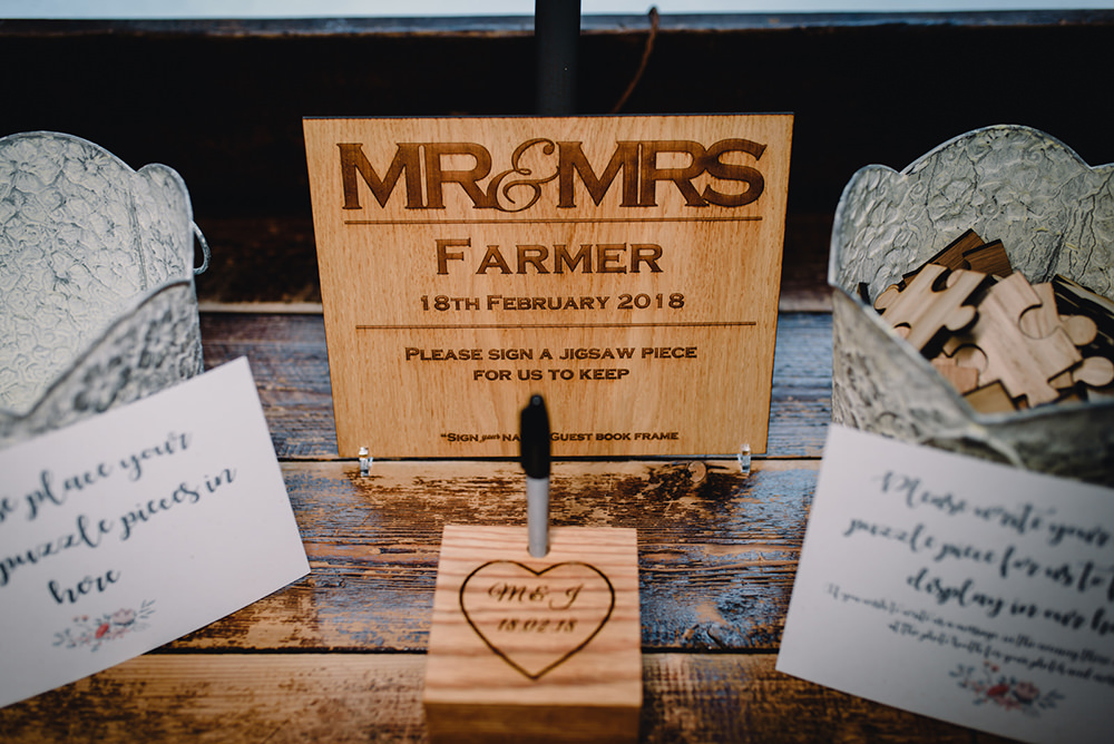 Wooden Sign Jigsaw Guest Book Industrial Winter Wedding Reality Photography