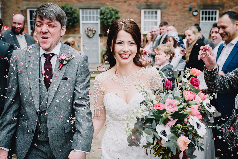 Confetti Throw Bride Groom Industrial Winter Wedding Reality Photography