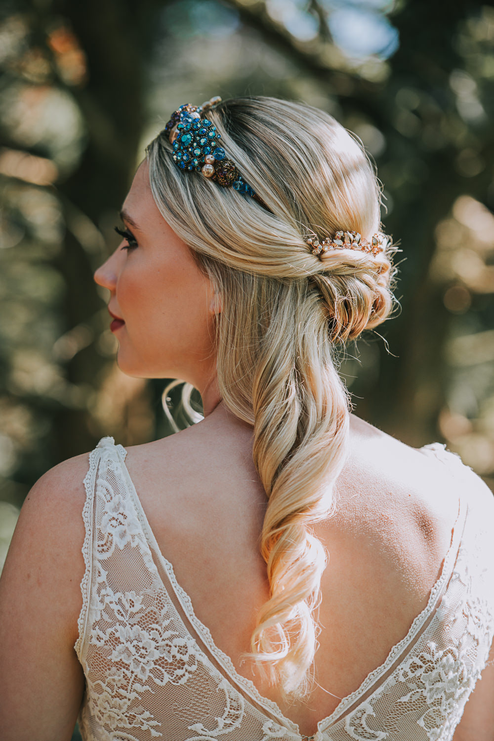Crown Tiara Blue Jewels Half Up Do Hairstyle River Romance Wedding Ideas Mindy Coe Photography