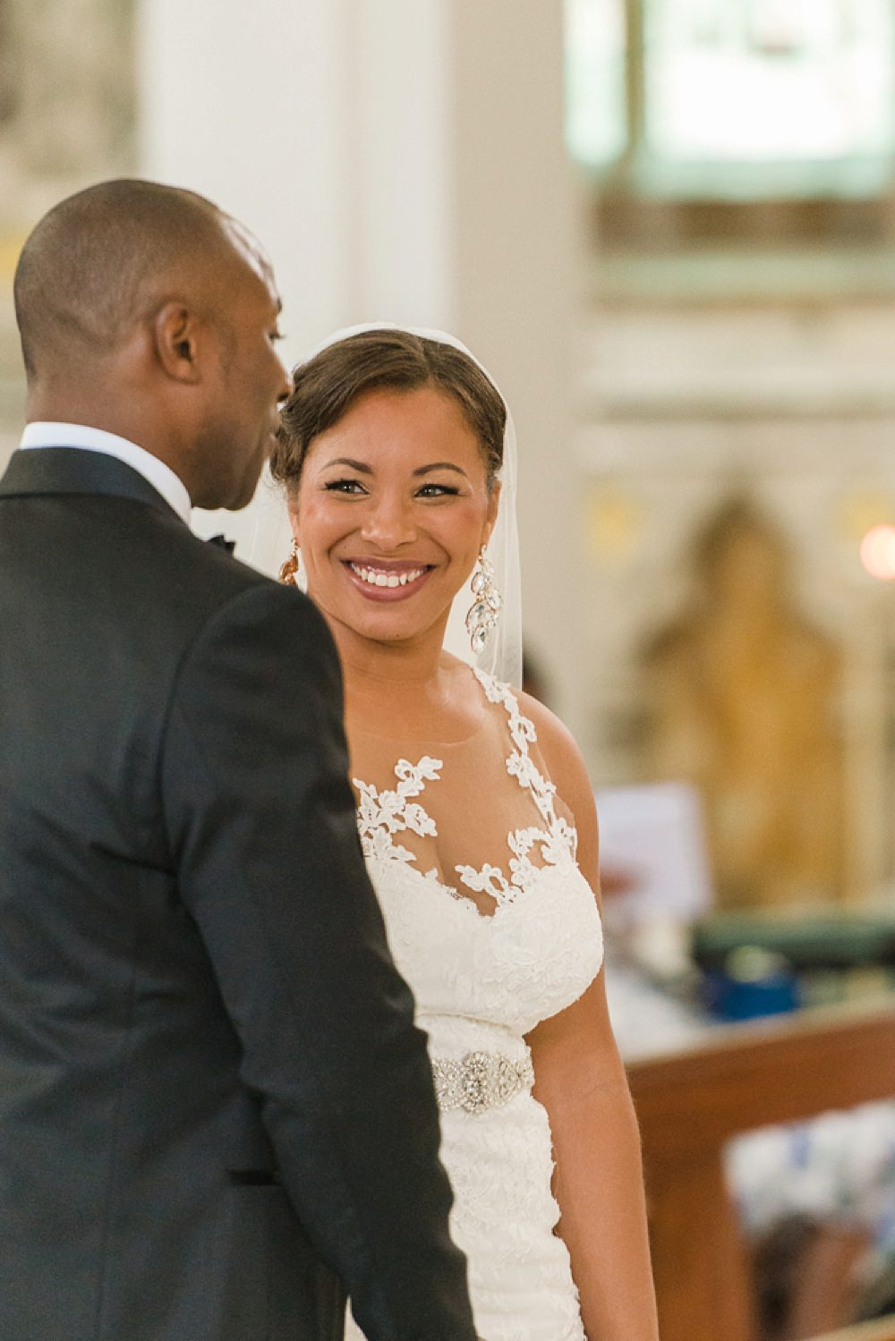Bride Bridal La Sposa Fit & Flare Lace Dress Gown Floor Length Veil Hugo Boss Tuxedo Groom Stoke Place Wedding Hannah McClune Photography