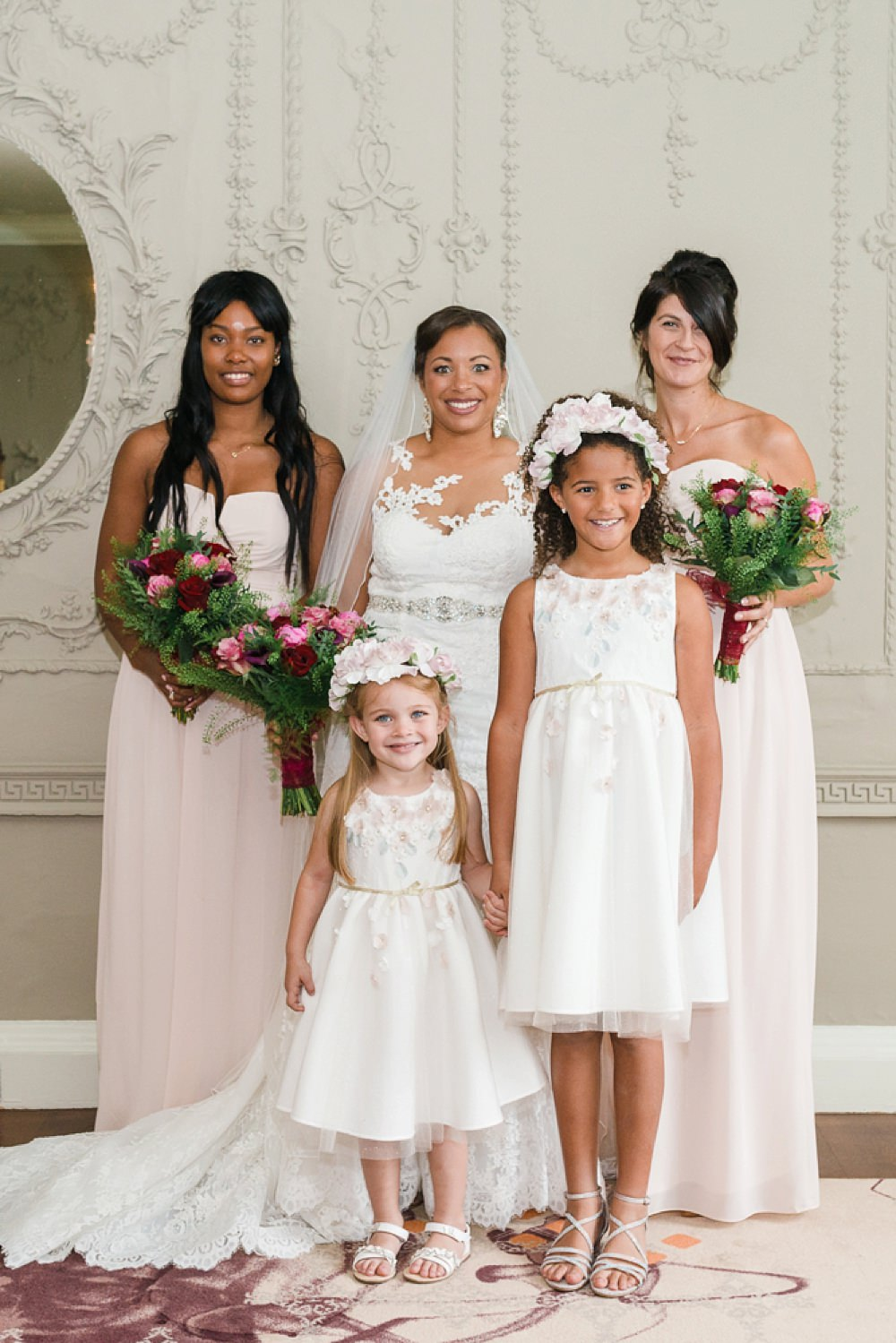 Bride Bridal La Sposa Fit & Flare Lace Dress Gown Floor Length Veil Pink Red Bouquet Pink Strapless Bridesmaids Flower Girls Stoke Place Wedding Hannah McClune Photography