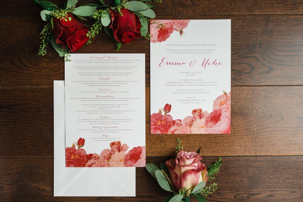 Stationery Invitation Rose Pink Rose Design Stoke Place Wedding Hannah McClune Photography