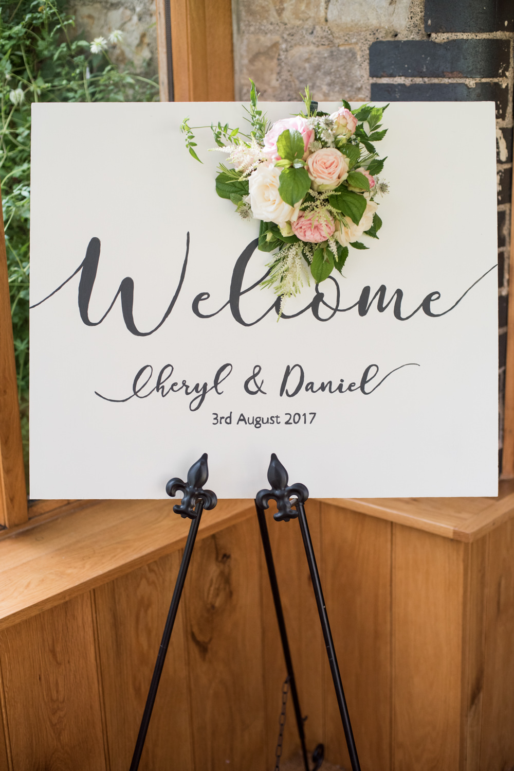 Welcome Sign Calligraphy Lettering Flowers Floral Tythe Barn Priston Mill Wedding Eleanor Jane Photography