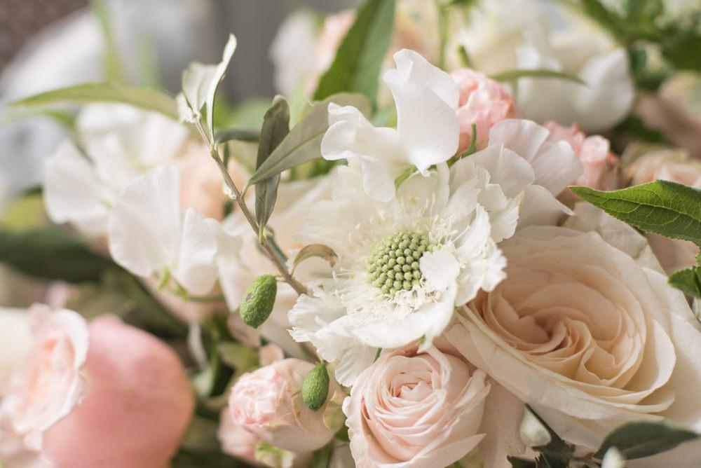 Bouquet Flowers Bride Bridal Blush Pink White Dahlia Cafe Au Lait Rose Sweet Peas Tythe Barn Priston Mill Wedding Eleanor Jane Photography