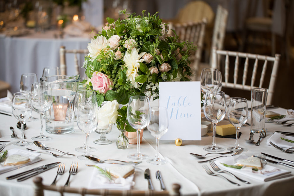 Table Number Blue Calligraphy Stationery Tythe Barn Priston Mill Wedding Eleanor Jane Photography