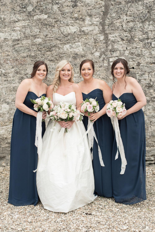 Long Maxi Navy Bridesmaid Dresses Strapless Sweetheart Tythe Barn Priston Mill Wedding Eleanor Jane Photography