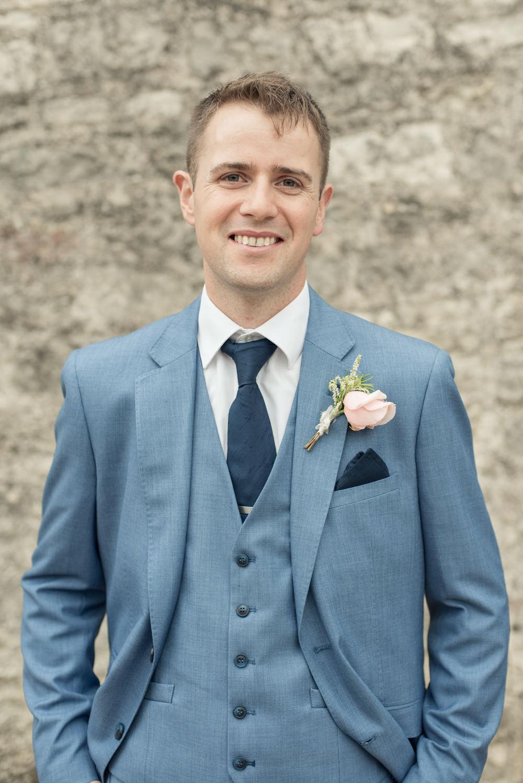 Groom Pale Blue Suit Tie Navy Buttonhole Tythe Barn Priston Mill Wedding Eleanor Jane Photography