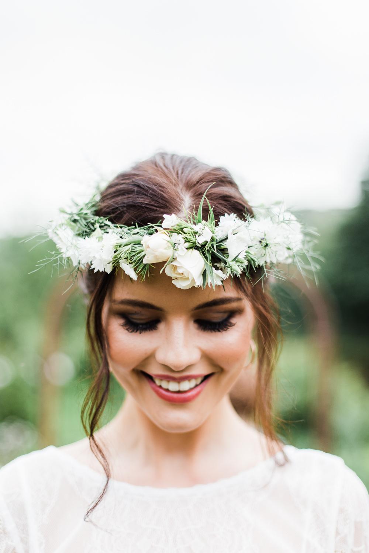 Bride Bridal Flower Crown Headdress Accessory Colourful Bohemian Floral Wedding Ideas Anna Beth Photography