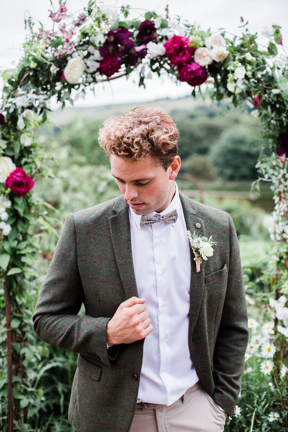 Groom Style Suit Brown Check Tweed Bow Tie Colourful Bohemian Floral Wedding Ideas Anna Beth Photography