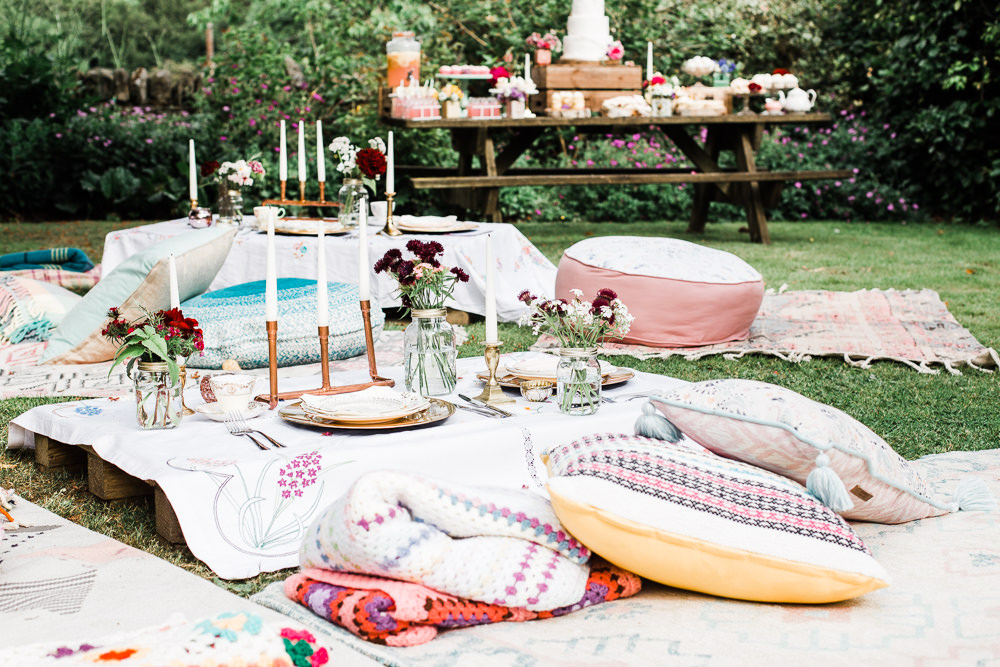 Seating Area Floor Cushions Colourful Bohemian Floral Wedding Ideas Anna Beth Photography