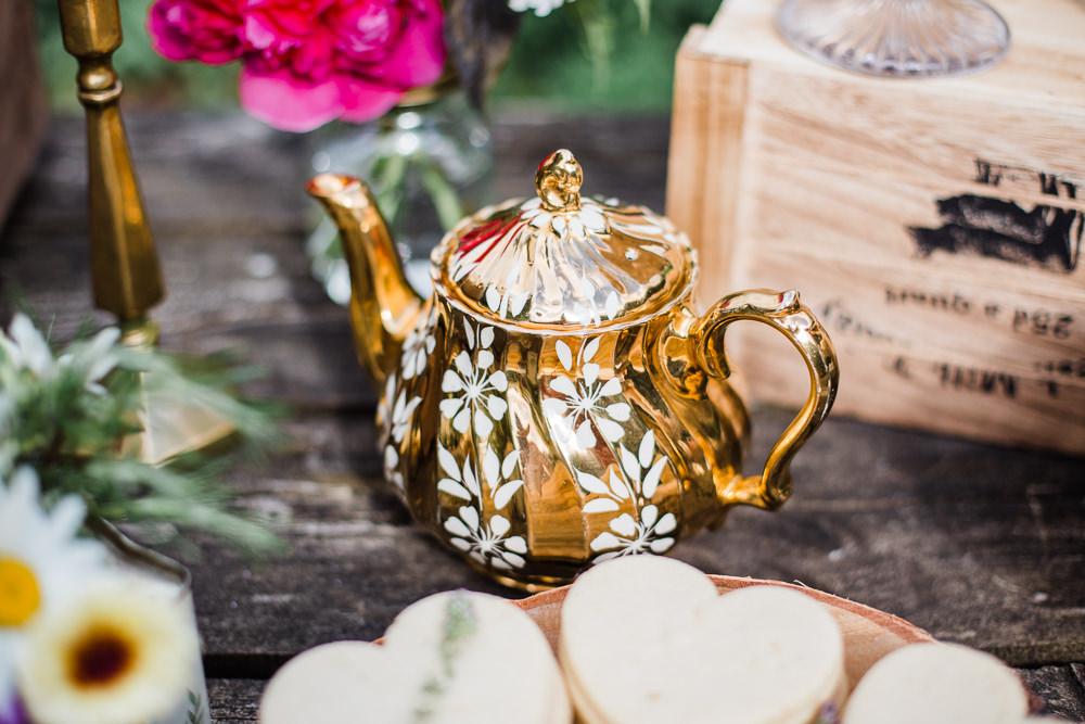 Gold Tea Pot Decor Colourful Bohemian Floral Wedding Ideas Anna Beth Photography