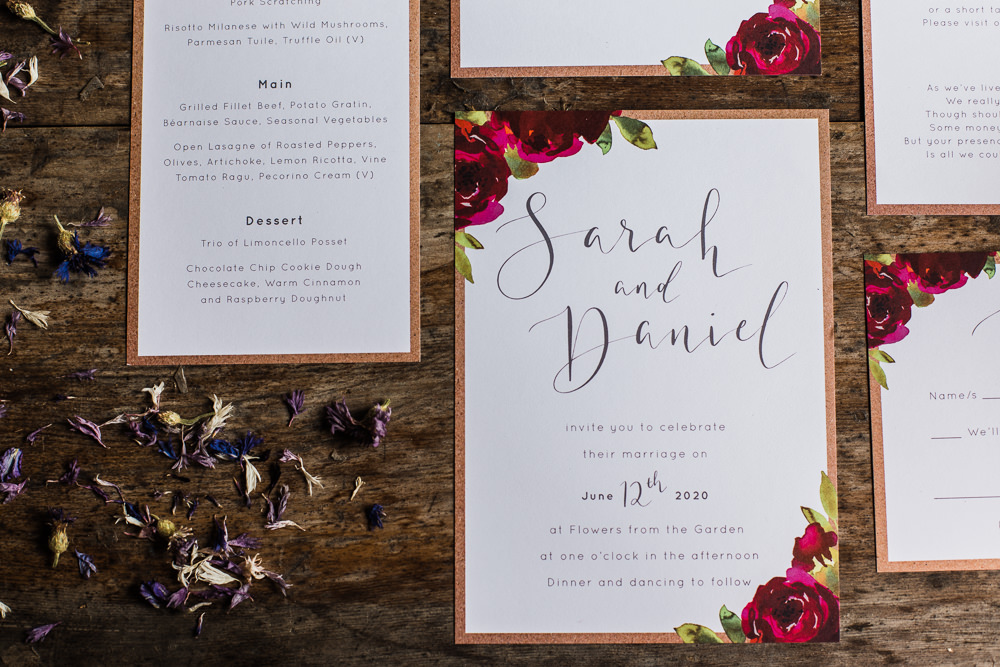 Stationery Invites Invitations Calligraphy Red Petal Confetti Colourful Bohemian Floral Wedding Ideas Anna Beth Photography