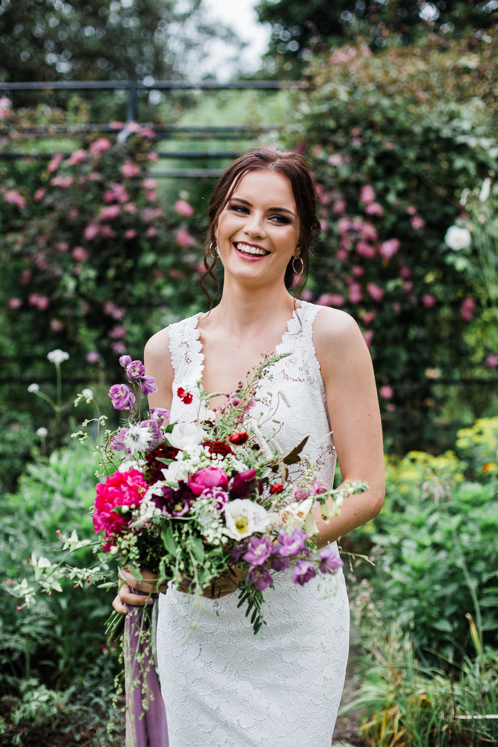 Bouquet Flowers Bride Bridal Red Pink Peony Wild Natural Colourful Bohemian Floral Wedding Ideas Anna Beth Photography