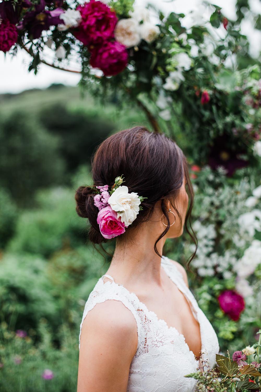 Hair Bride Bridal Style Up Do Flowers Colourful Bohemian Floral Wedding Ideas Anna Beth Photography