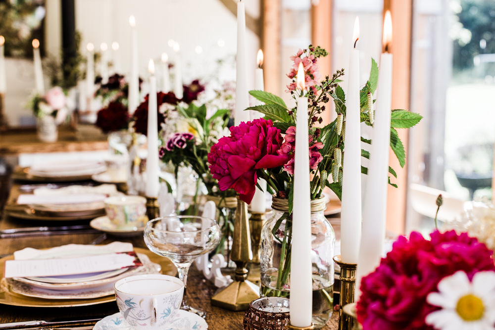 Tablescape Table Decor Candles Copper Flowers Place Setting Colourful Bohemian Floral Wedding Ideas Anna Beth Photography