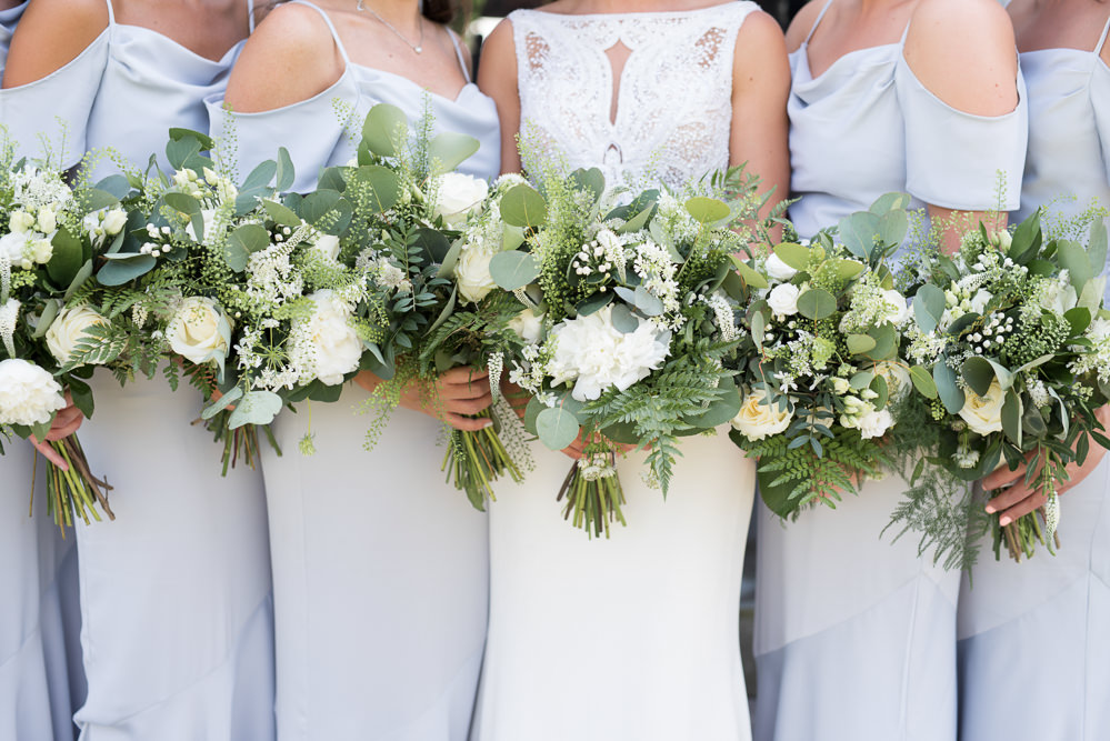 Bride Bridal Bridesmaids Greenery Foliage Bouquet White Flowers Floral Elegant Chic Modern Wedding Kayleigh Pope Photography