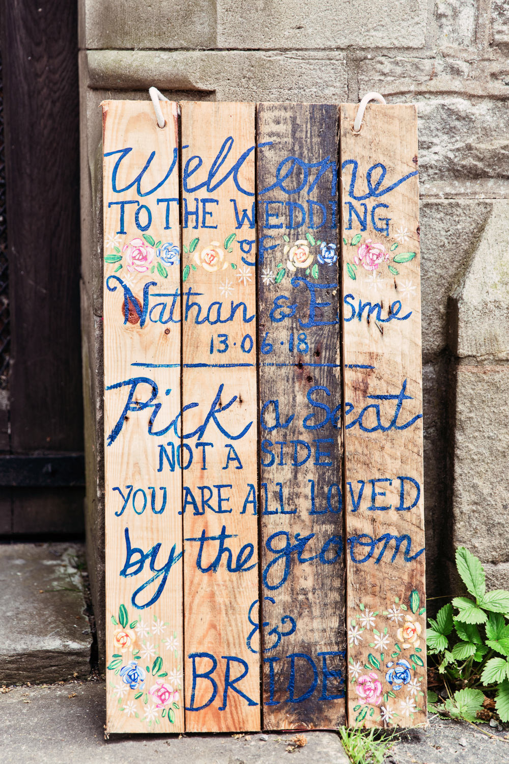 Handpainted Pallet Sign Floral Pick a Seat Not a Side Festival Wedding Mismatched Country Camilla Lucinda Photography
